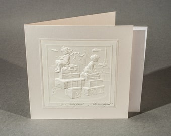 "Embossed graphic postcard ""Travelers"""