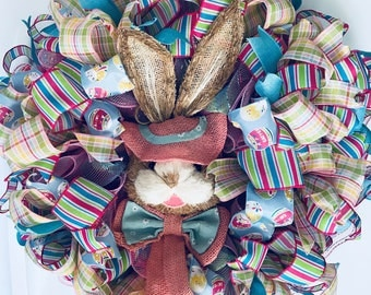 Sisal bunny Easter wreath