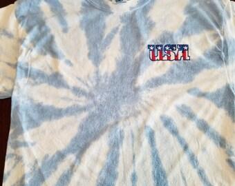 Embroidered USA with Flag