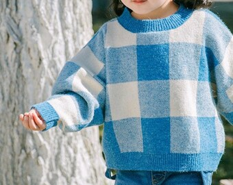 Blue England Grid Cotton pullover