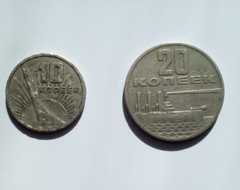 Set of jubilee soviet coins, 50 years of Soviet rule, 10 and 20 kopecks, 1917-1967