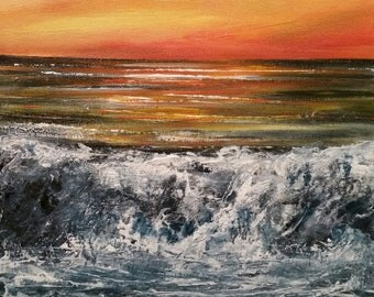 Original seascape sunset oil painting