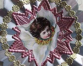 Vintage Style Christmas Ornament Victorian Angel Scrap Dresden Medallions Tin Reflector