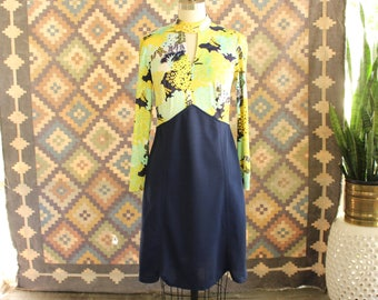 60s 70s vintage scooter dress with navy blue scalloped skirt, open v neck . womens medium or large