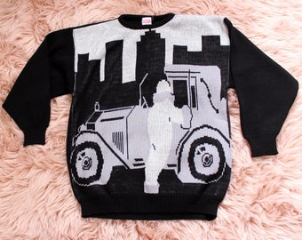 vintage 1980s sweater novelty classic car sweater of a 20s or 30s Stutz . black & white sweater