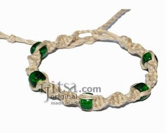 Natural twisted hemp bracelet or anklet with green glass beads