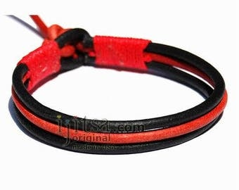 3-Strand Black and Red Leather with Red Hemp bracelet or anklet