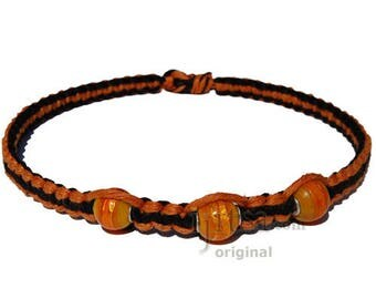 Pumpkin and Licorice Wide Flat Hemp Necklace with Orange Glass Beads