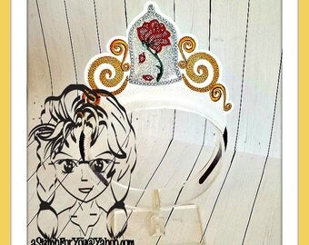 Bell ROSE under Glass PRiNCESS CRoWN ~ In The Hoop Headband ~ Downloadable DiGiTaL Machine Embroidery Design by Carrie