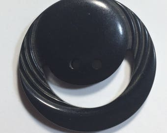 Vintage Large Bakelite Black Smiley or Moon Button
