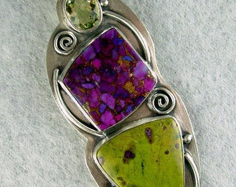 ARTIST CHOICE  Lemon citrine purple turquoise bronze, atlantiscite/ stitchtite in serpentine LARGE sterling silver pendant Chelle' Rawlsky