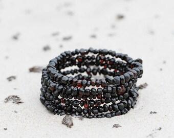 Black Amber Bracelet / Adult Baltic Amber bracelet / Amber jewelry / Gift for her / Women bracelet / Amber bracelet : AB03