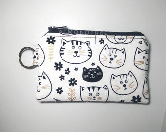 black cat white Cat, cute coin, key ring purse, keychain, zip wallet id20170206, cardholder, jogging accessory bag organizer, portefeuille