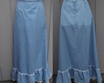Vintage 70s Blue & White Gingham Hippie Midi Maxi Skirt by Fritzi of California / Sz Med - Lge