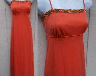 70s Orange Maxi Dress with Empire Waist / Hippie Boho Festival Long Dress // Sml - xs