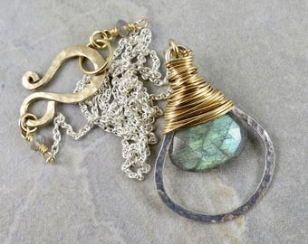 Labradorite Mixed Metals Wrapped Hoop Necklace