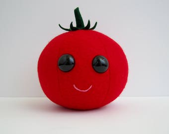 Tomato Plush / Kawaii Plush / Tomato Stuffed Animal / Food Plush / Play Food / Gift / Decor / Bedroom / Kids / Toy / Pincushion