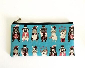 Flat  zipper pouch  -Animal circus