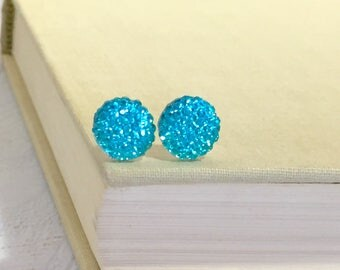 Little Aqua Sparkling Bumpy Druzy Round Circle Stud Earrings with Surgical Steel Posts