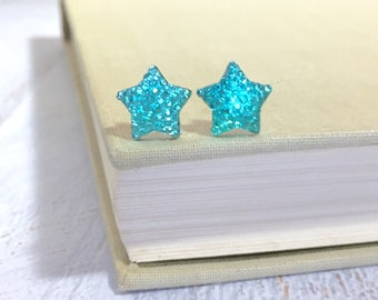 Small Sparkling Bumpy Druzy Aqua Celestial Star Stud Earrings with Surgical Steel Posts
