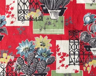 Vintage Fabric Cactus Design  - original 50s Eames Era Cacti Retro Fabric