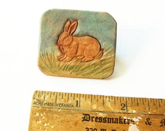 Rabbit Hand Tooled Leather Pin or Badge
