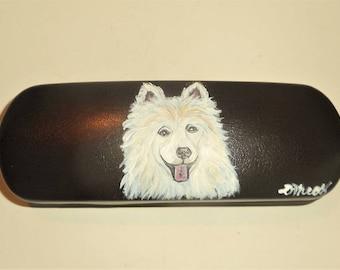 Samoyed Dog  Hand Painted Eyeglass Case