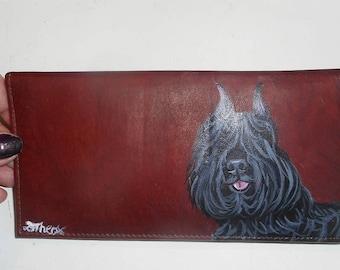 Bouvier des Flanders Dog Bouvier des Flandres Custom Hand Painted Leather Checkbook Cover Checkbook Holder