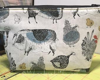 Farm Animals Fabric Makeup Bag || Lined Makeup Bag | Pigs Cows Chicken Guinea Fowl | Makeup Bag | Small Gift Under 20 | Camera Accessory Bag
