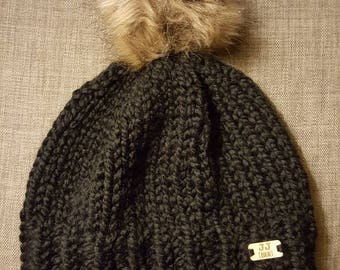 Warm & Cozy Black Knit Hat with Pom-Pom for Winter - Women's Black Knitted Hat