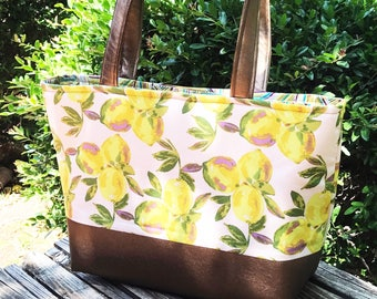 Tote Bag Purse Blush Pink Lemons Copper Vegan Faux Leather
