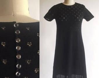 1960s Vintage Black Pointell Knit Dress