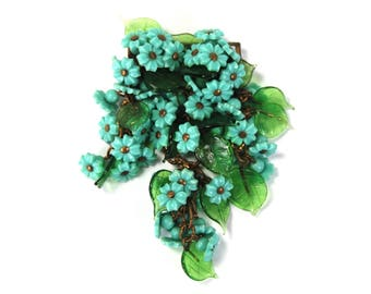 RARE Antique Early Miriam Haskell Brooch Turquoise Blue Glass Flowers Wired Green Glass Leaves Unsigned Metal Back circa 1930