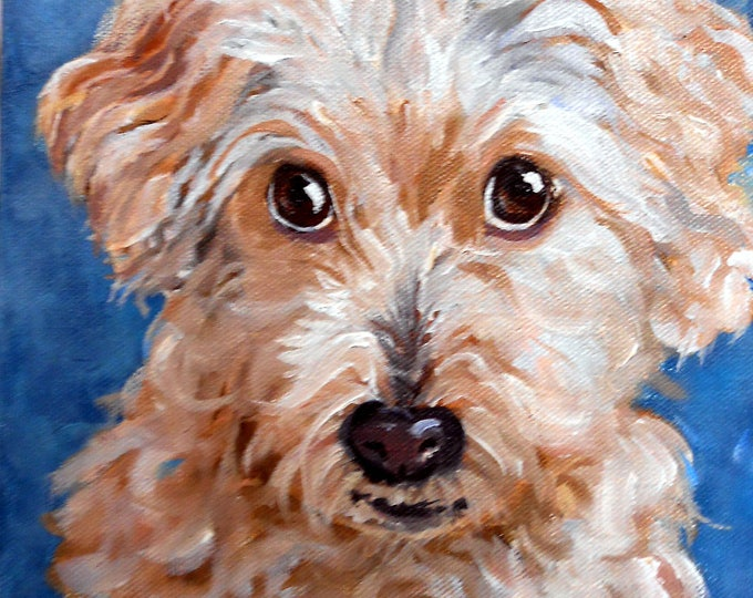 "Valentines Gift Custom Pet Portrait Oil Paintings, 4"" x 4"" with tabletop easel, On Sale Now Dog Art"