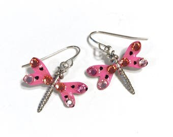 Dragonfly Earrings Handpainted in Pink and Coral