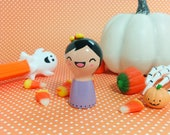 Candy Corn Girl Figurine - Collectible Miniature Clay Figure