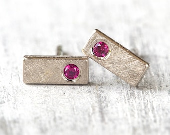 Ruby Mini Bar Studs | Available in 18k White Gold or Platinum | Handmade in the UK