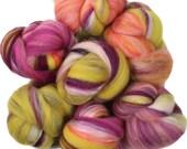 Zinnia Patch battlings -- mini batts (2 oz.) organic polwarth wool, silk, alpaca, silver sparkle.