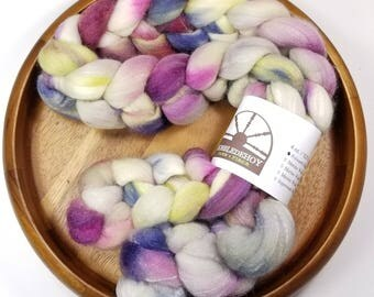 Oil Paints - hand-dyed Polwarth wool and silk (4 oz.) combed top roving