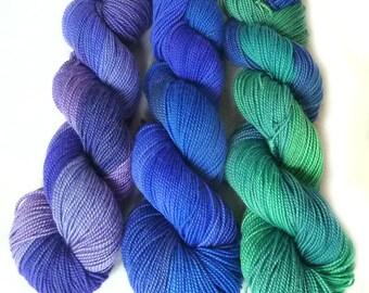 Handdyed superwash Merino wool yarn, sock weight, 600 yards 150g