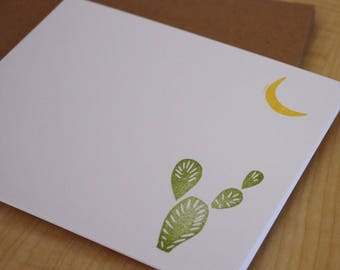 Desert Evening - Cactus and Moon Cards - Desert Stationery Set - Cactus Stationery - Hand Stamped Note Cards - Set of 6