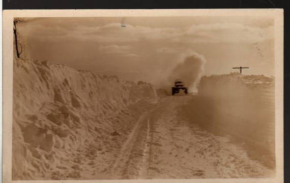 Winter Scene -  Snow Plow Driving Through Snow - Vintage Photo Postcard