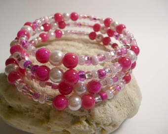 Pink Bracelet, Pink Jewelry, Hot Pink, Light Pink, Fuchsia, Shades of Pink, Memory Wire Beaded, Stacked Coil Bangle, Wrap Around Adjustable