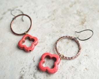 The Izmit- Red Howlite and Brass Hoop Earrings