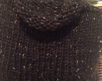 Black Tweed Handknit Capelet Wrap Shawl