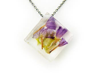 Purple Dried Flower Botanical Eco Resin Necklace