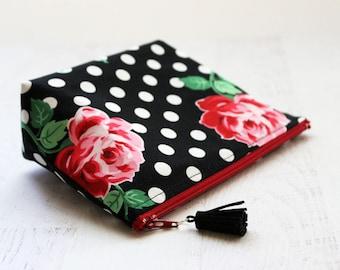 Retro floral make up bag - polka dots cosmetics bag - toiletry bag - pin up girl bag - rockabilly makeup bag - gift idea for girlfriend