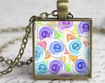 Watercolor Roses Pendant, Necklace or Key Chain - Choice of Silver, Bronze, Copper or Black - Abstract, Flowers