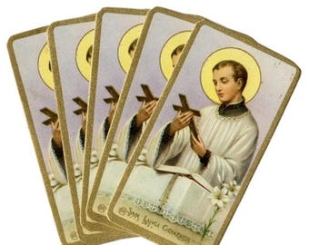 SALE 5pcs SAINT ALOYSIUS Gonzaga Vintage Prayer Cards Miniature Italy