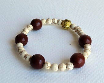 Brown Turquoise and Beige Howlite with Brown Veins Bracelet, Smokeylady54